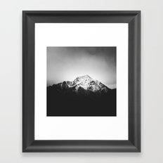 Black and white snowy mountain Framed Art Print