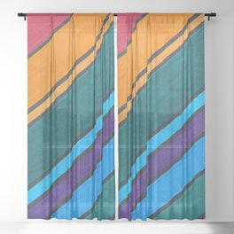 Rainbow Diagonal Color Blocks Sheer Curtain