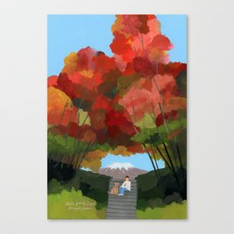 Break time with autumn leaves. Canvas Print