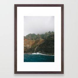 waterfall in the cathedrals, kauai, hawaii Framed Art Print