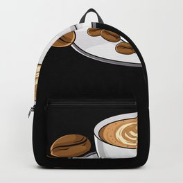 Heart Crema Coffee Cup With Coffee Beans Backpack