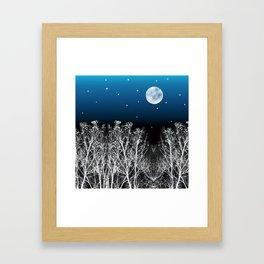 White Woods Moon Framed Art Print