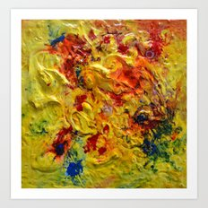 Abstract Yellow Swirls Art Print