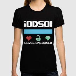 Godson Gift God Son Level Unlocked for New Godson Gamer T-shirt