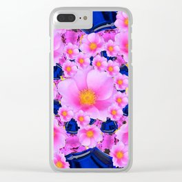 Blue Sapphire Color & Pink Roses Garden Art Clear iPhone Case