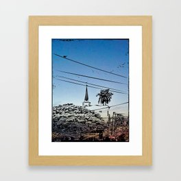 over smal trown the sunset Framed Art Print