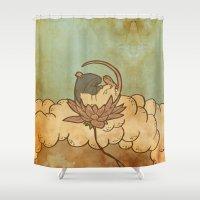 tarot Shower Curtains featuring Muroidea Rat Tarot- Death by Midio