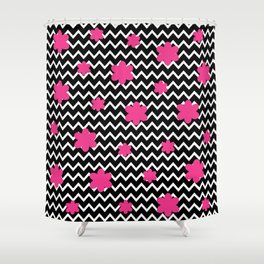 Black Chevron and Hot Pink Flowers Shower Curtain
