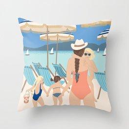 Family Beach Day Throw Pillow