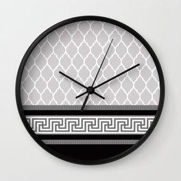 Modern Moroccan Striped Pattern, Black, Grey, White Wall Clock