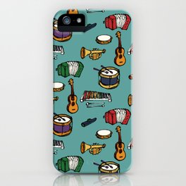 Toy Instruments on Teal iPhone Case