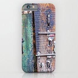 Rustic Reclaimed Wooden Planks Door with Locks iPhone Case