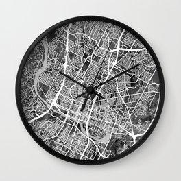 Austin Texas City Map Wall Clock