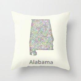 Alabama map Throw Pillow