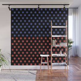 Red and blue stars black pattern Wall Mural