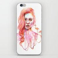 flamingo iPhone & iPod Skins featuring Flamingo by Veronika Weroni Vajdová