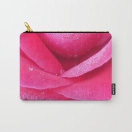 Dew on pink rose petals macro Carry-All Pouch