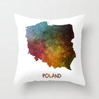 poland Throw Pillows featuring Poland map  by jbjart