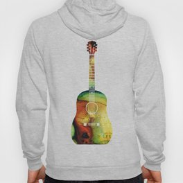 Acoustic Guitar - Colorful Abstract Musical Instrument Hoody
