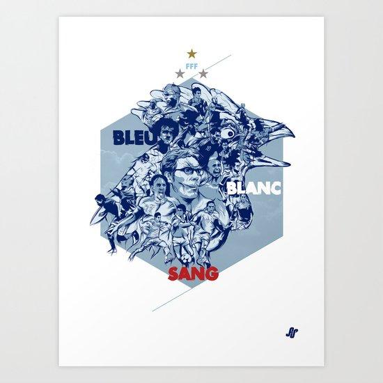 Bleu Blanc Sang Art Print