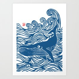 Japan Sea Whale Art Lino Art Print