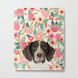 German Shorthair Pointer floral dog portrait cute art gifts for dog breed lovers Metal Print