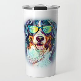 Bernese Mountain Dog Neon Dog Sunglasses Travel Mug