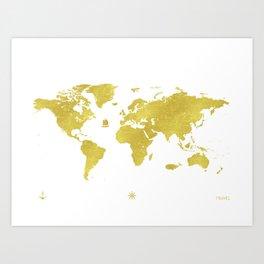 Golden two World map Art Print