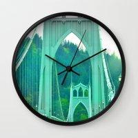 marc johns Wall Clocks featuring St. Johns Bridge Portland Oregon by Teresa Chipperfield Studios