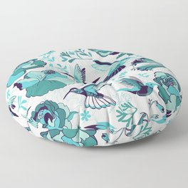 Hummingbird summerdance, Blue Floor Pillow