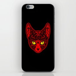 Red Day of the Dead Sugar Skull Cat iPhone Skin