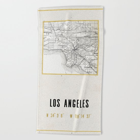 Vintage Los Angeles City Gold Foil Location Coordinates with map Beach Towel