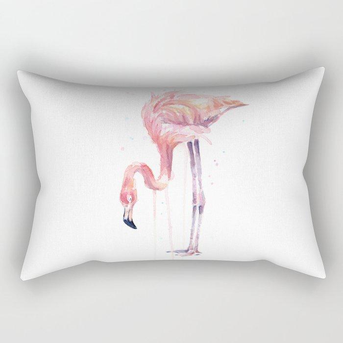 Flamingo Watercolor Painting Art Tropical Birds | Facing Left Rectangular Pillow