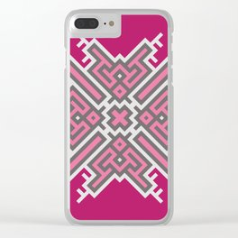 Cross Study In Pink and Grey Clear iPhone Case