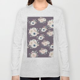Dog Rose Pattern  Mauve Long Sleeve T-shirt