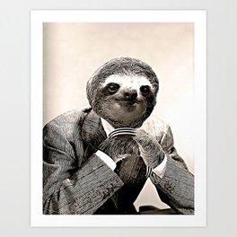 Gentleman Sloth in Smart Posture Art Print
