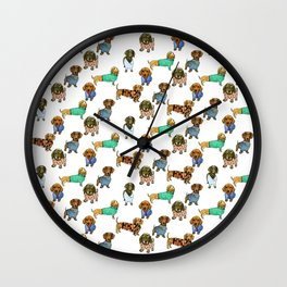 Sausage Dogs - Dachshunds with Jumpers Wall Clock
