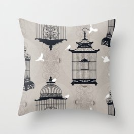 Mascara Empty Brid Cages Throw Pillow