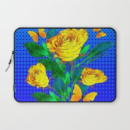 YELLOW BUTTERFLIES, ROSES, & BLUE OPTICAL ART Laptop Sleeve