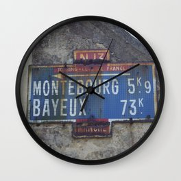"""Vintage Road Sign Touring club de France """"Bayeux - Montebourg"""" Normandy Wall Clock"""