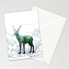 Watercolor Deer on Line Drawn Mountain Stationery Cards