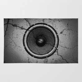 Music speaker on a cracked wall Rug