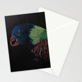 Lorikeet on black Stationery Cards