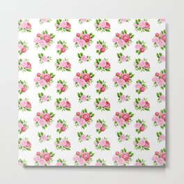 Blush pink red green watercolor floral camellia pattern Metal Print