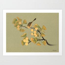 Bird in Ginkgo Tree Art Print
