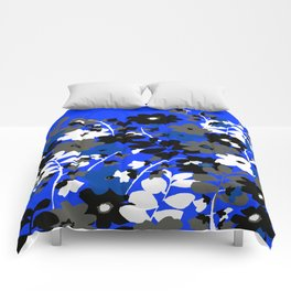 SUNFLOWER TRELLIS BLUE BLACK GRAY AND WHITE TOILE Comforters