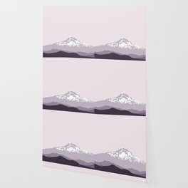Snow Capped Mountain Landscape - Purple Wallpaper