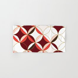 Floral Circle Pattern Inspired by Mid Century Modern Design: Red Pink and Gold Foil Hand & Bath Towel