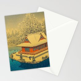 Vintage Japanese Woodblock Print Winter Red Pagoda Falling Show Blue Lake Stationery Cards