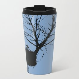 Silhouette Of Stalk Nest and Fledglings Vector Travel Mug